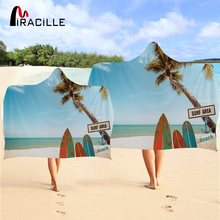 Miracille Beach Scene Hooded Towel Sunset Bathroom Adult With Hood Absorbent Quick-Dry Blue Wearable Wrap