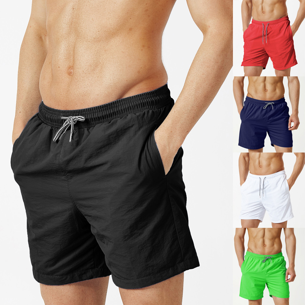 2019 New Style Hot Sales Men's Summer New Style Fashion Casual Pure-Color Beach Trousers Fitness Shorts High Quality Sales