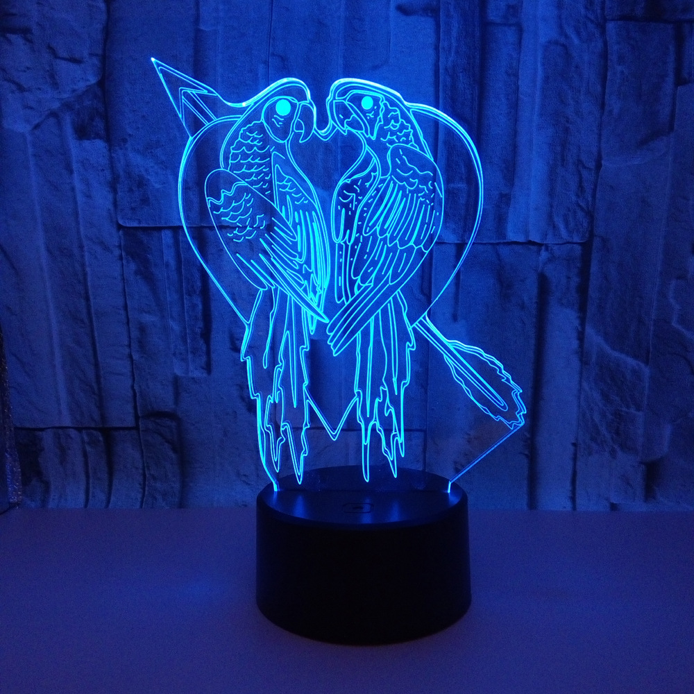 Novelty Parrot Bird Shape Table Lamp 3D Acrylic 7 Colors LED USB Sleep Night Light Romantic Love Bedroom Decor Light Fixture 3d luminous ice hockey player shape led table lamp 7 colors changing home living room decor light fixture baby sleep night light