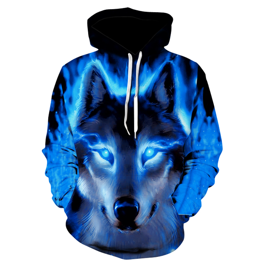 Hooded Sweatshirts Harajuku-Hoody Wolf Animal Shinning 3d-Printed Fashion Men Men/women's