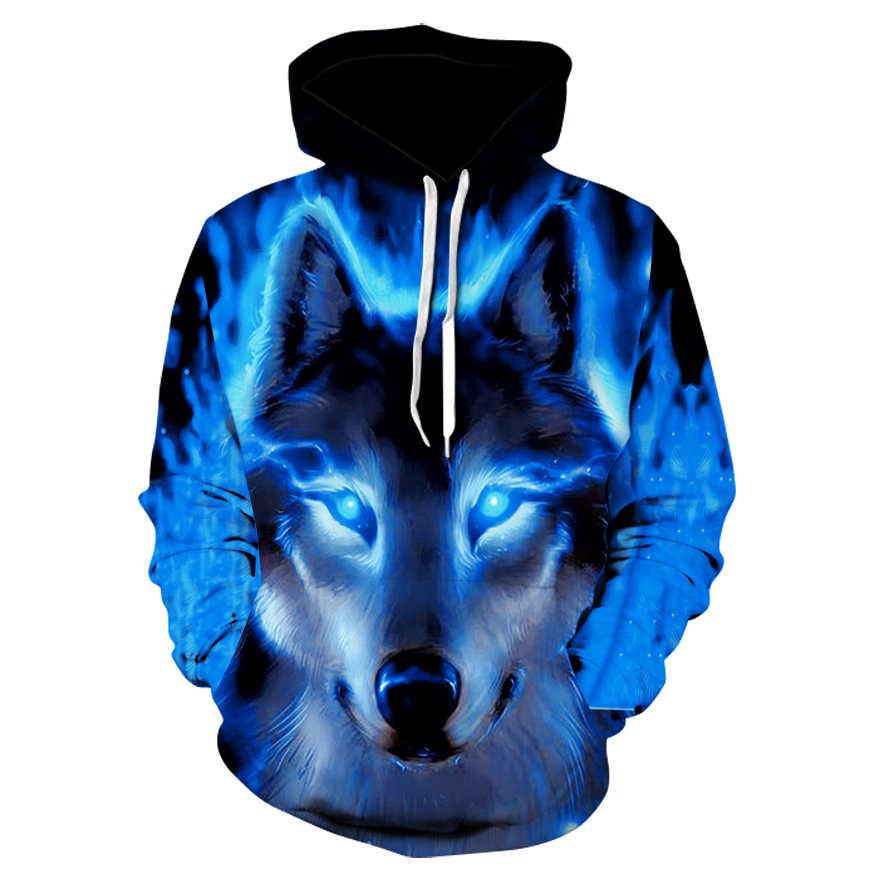 Moda Erkekler Kurt Hayvan 3D Baskılı Kapşonlu Hoodies Erkekler/kadın Shinning Kurt Tasarım Tişörtü 3D Harajuku Hoody