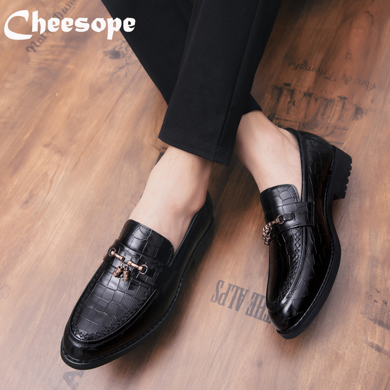 Clever M-anxiu 2019 New Design Fashion Mens Tassel Shoes Luxury Leather Italian Formal Snake Skin Dress Office Footwear Drop Shipping Formal Shoes