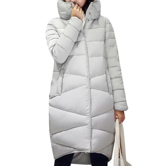 2016 Inverno Nova Moda Casaco Longo Fino Gola Engrossado Quente Jaqueta de Algodão Acolchoado Com Zíper Plus Size Casacos Casacos 4 Cores