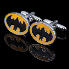 Top Silver Plated Yellow Black Enamel Bat Men Copper Cufflink 1 Pair Exquisite high quality gift Party Wedding Shirt Button(China)