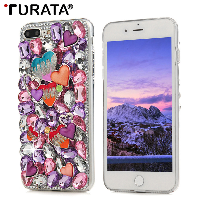 3D Rhinestone Case For iphone 6 6S 7 8 Plus Bling Crystal Diamond Shell Cover For Samsung Galaxy S8 Plus For Sony Xperia XA XZ