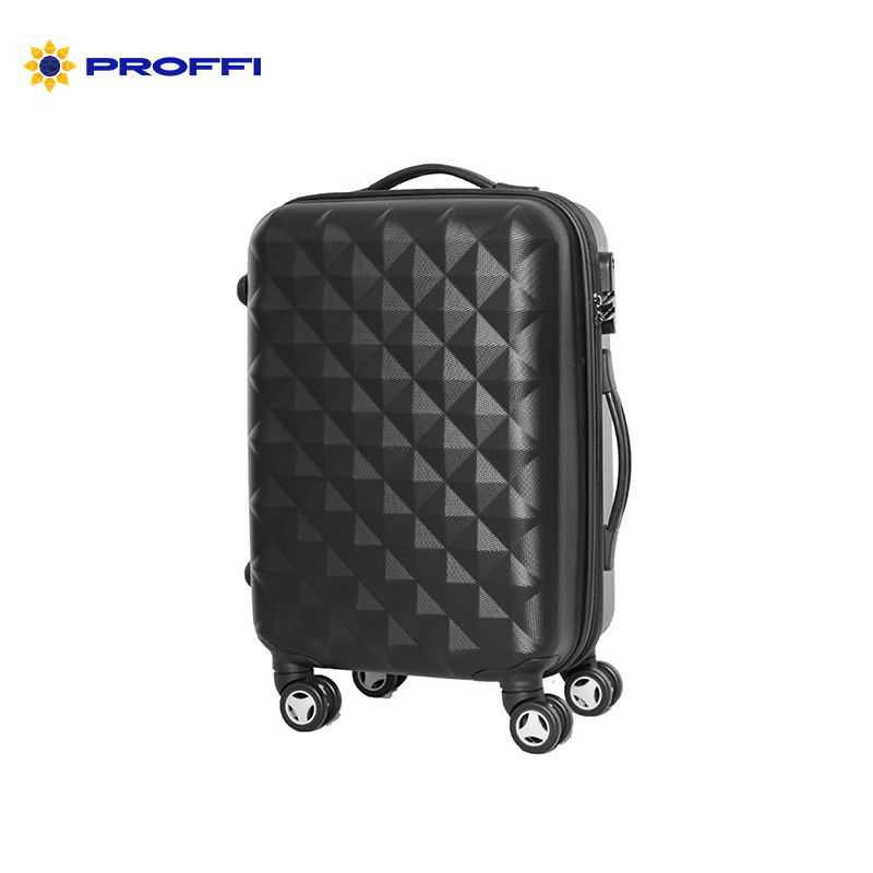 black suitcase PROFFI TRAVEL PH8368, M, medium plastic  on wheels with combination lock