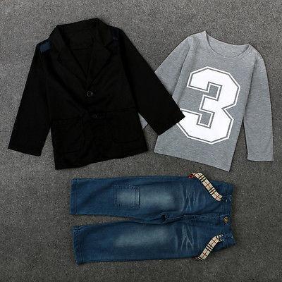 3PCS!!Autumn Winter Toddler Kids Baby Boy Gentleman Coat+Long Sleeve T-Shirt+Denim Pants Clothes Outfit Set