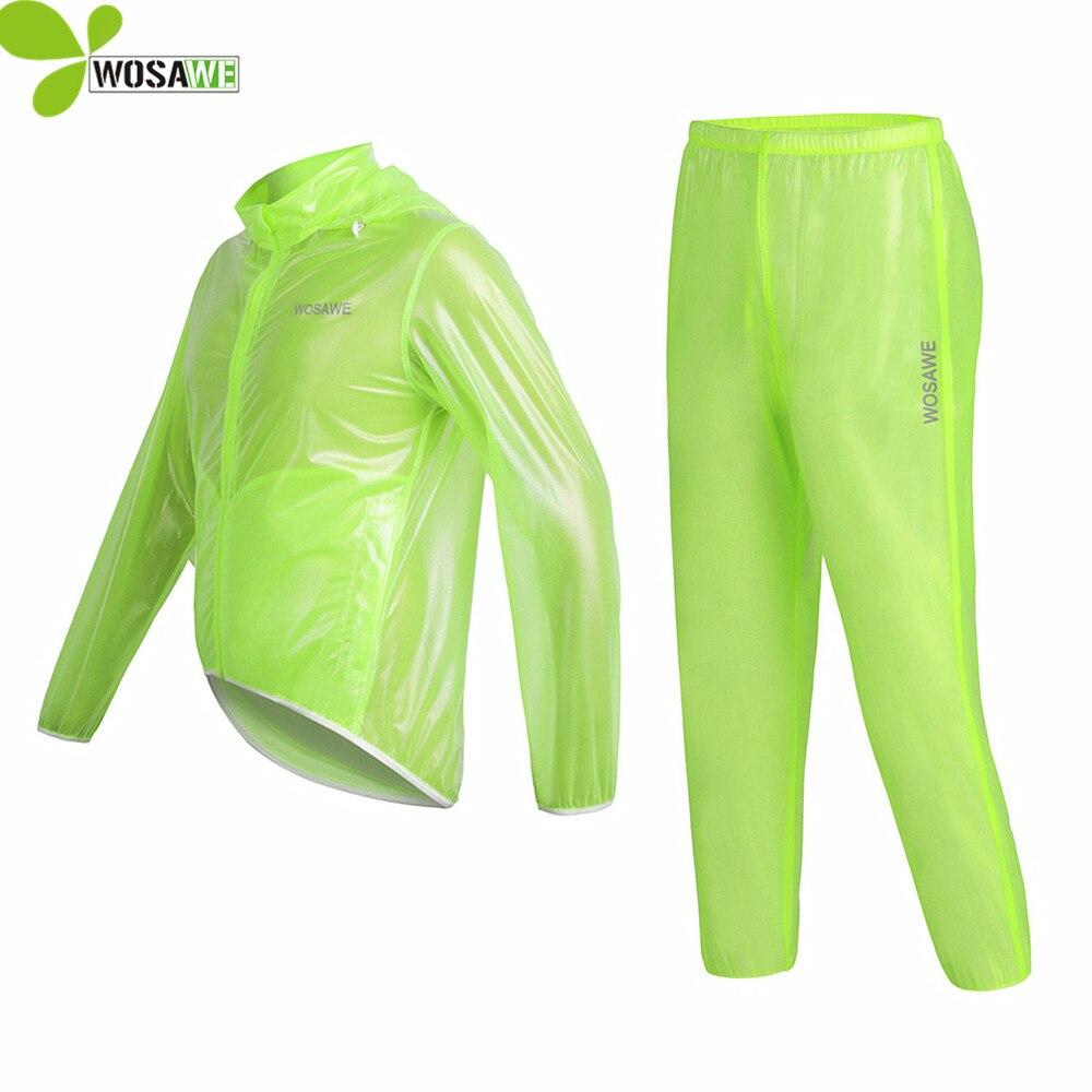 WOSAWE Cycling Clothes Rain Jackets Sets Kit Hooded Waterproof Suit MTB Bike Rainproof Windbreaker Bike Coat