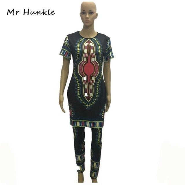 2016 Традиционных Африканских Одежды Из Двух Частей Набор Женщины Африканская Dashiki Печати Свободные Топы + Брюки Лето Осень Одежда