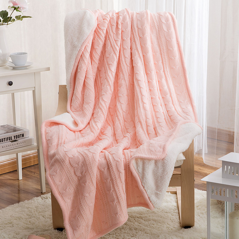 Winter Warm Pink Knitted Wool Blanket Sofa / Bedspread Quilt Braided Blanket Comfortable Soft 120x180cm