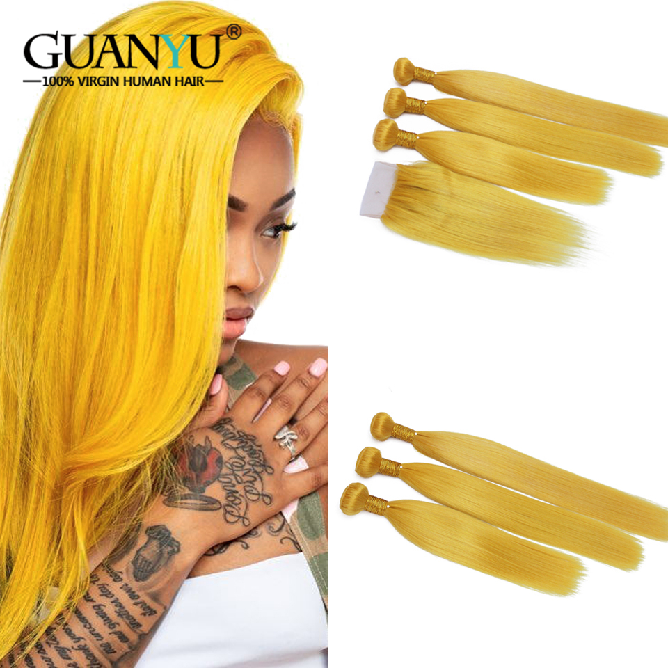 Guanyuhair 3 Pcs Blonde Hair Bundles With Closure 4X4 Brazilian Remy Human Hair Weave Yellow Straight Hair