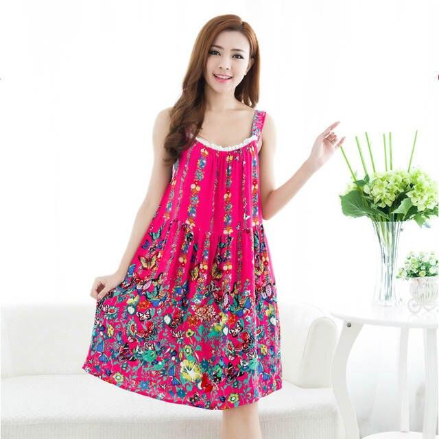 6ccc22a5ee Women Cotton Nightgown Floral Sleep Dress Sleeveless Sleep Shirt Fashion  Night Shirt Sexy Nightwear Casual Home
