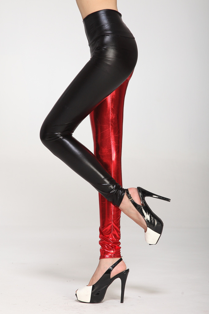 4d416a28c4abd High Waist Metallic Legging Black red New Two Tone Leggings Elastic Waist  Sexy Skinny Legging Pants 5 COLORS-in Leggings from Women's Clothing on ...