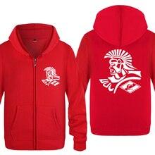 MOSCOW FC Creative Novelty Sweatshirts Men 2018 Mens Zipper Hooded Fleece Hoodies Cardigans