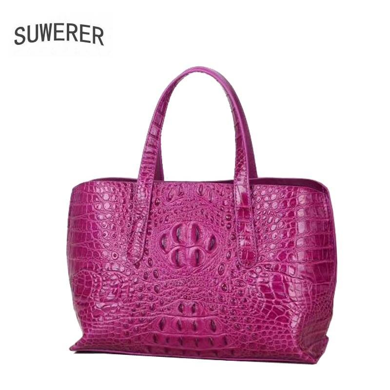 SUWERER 2019 New Women Genuine Leather bags Fashion luxury Crocodile pattern handbags tote designer women leather shoulder bag