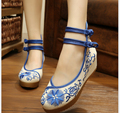 National wind embroidered shoes old Beijing cloth shoes female spring and summer increased 5cm Soft Sole Cloth Shoes Woman