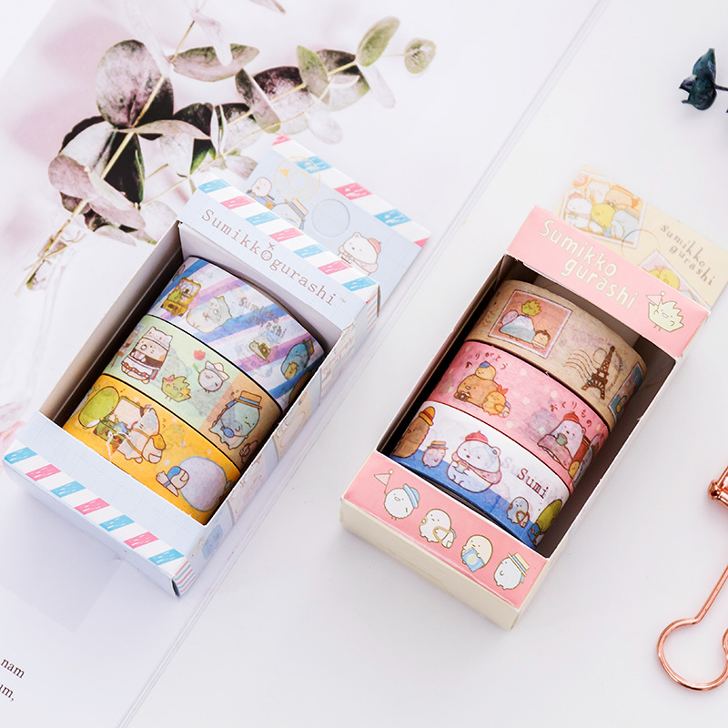 3 pcs/pack Sumikko Gurashi Decorative Washi Tape DIY Scrapbooking Masking Tape School Office Supply 1 5cm 7m flowers fox steamer mushroom decorative washi tape scotch diy scrapbooking masking craft tape school office supply