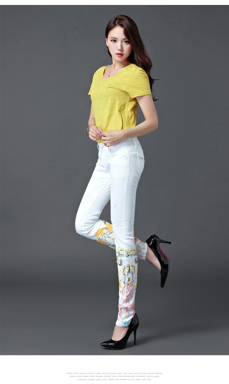 Dongdongta Women Girls White Color Jeans 2017 New Design Summer Original Design Full Length Cotton Mid Waist Skinny Pencil Pants 10