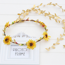 Daisy Sun Flower Boho Hairband Head band Garland Wedding Festival Beach Party  Flower Headband Wreath kids headband 2017 new 10pcs lot beach hair accessories kids flower headband bohemian style wreath garland girls birthday party hairband