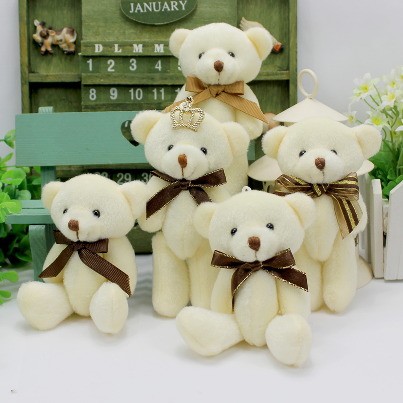 12pcs/lot white mini joint teddy bear Korean style key ring pendants with bow tie wedding car decoration party gifts for girls