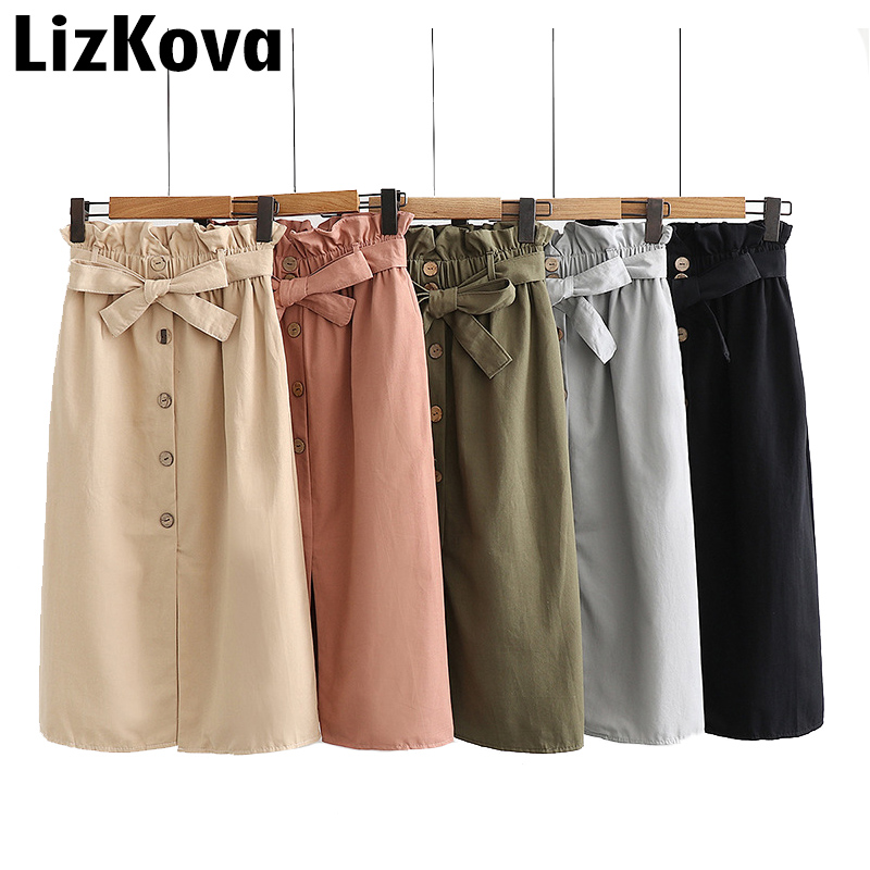 2019 Summer Paperbag Skirt Woman Single Breasted High Waist Skirt Korean Fashion Bottoms Front Cut Sexy Streetwear Faldas Saia
