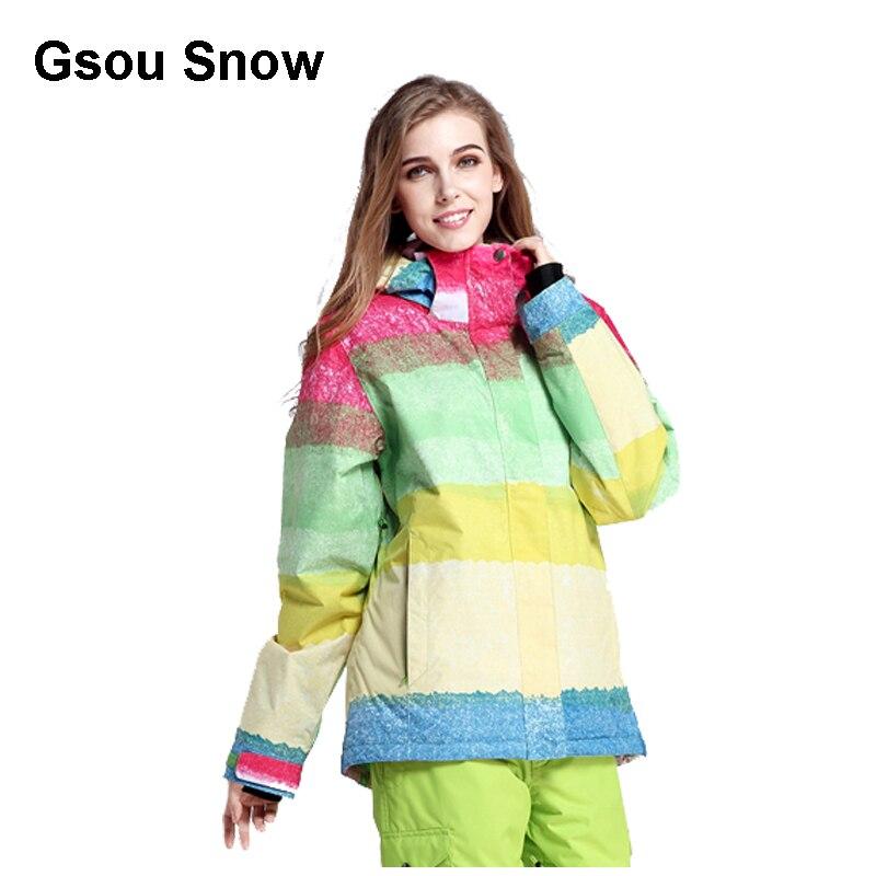 Gsou neige femmes Ski costume imperméable Snowboard veste coupe-vent chaud coloré hiver Sport manteau