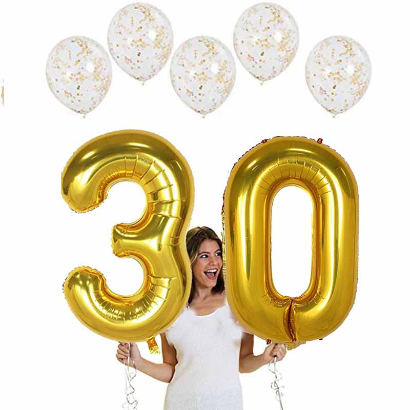 Gold number balloons for 16 18 20 21 30 40 50 60 70 80 years old Adult Birthday Party Anniversary Decoration backdrop favor gift image