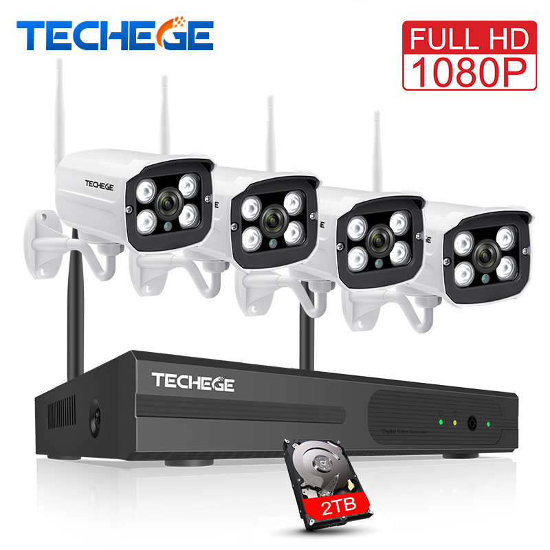 Techege 4CH 1080 P Беспроводной NVR комплект Plug and Play открытый IP66 Ночное видение 2.0MP WI FI Камера видеонаблюдения Системы 1 ТБ HDD