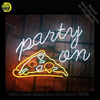 Party on Pizza neon Signs Unique Artwork Real Glass Tube neon lights Recreation Home Wall Iconic Sign Neon Light Art Lamps