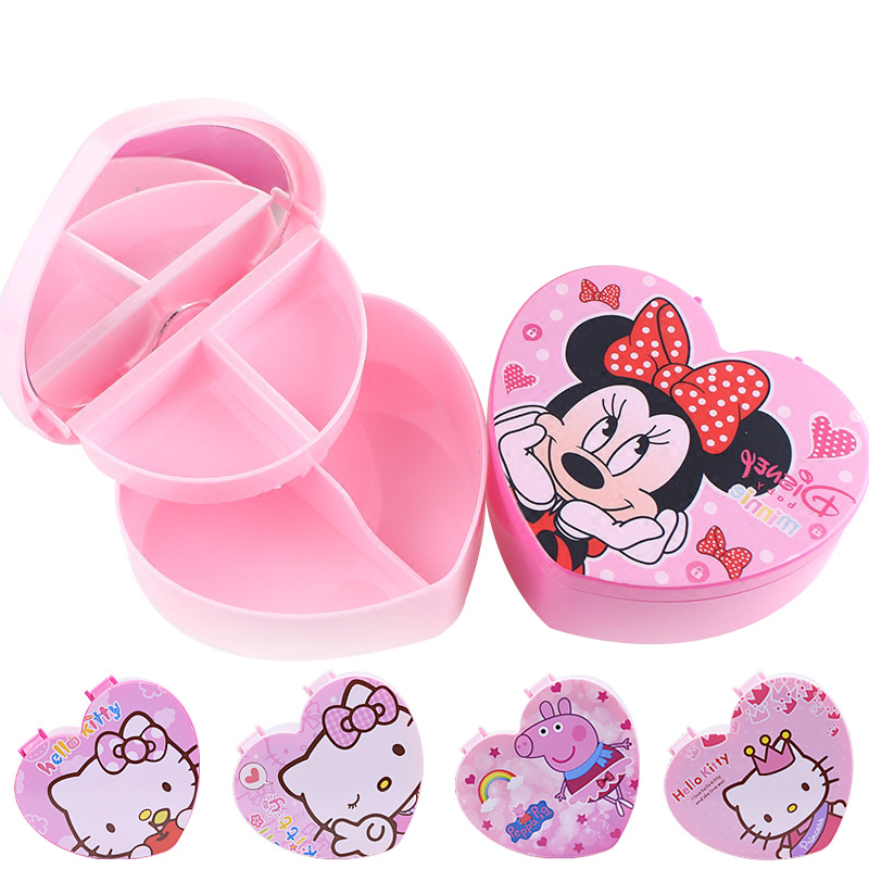 Jewelry-Box Dressing-Mirror Cosmetic-Case Heart-Shaped Girls Princess Cartoon Children