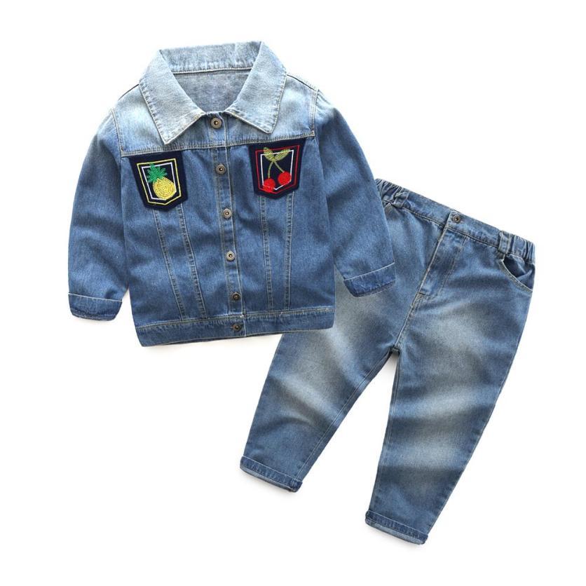 Mooistar2 #5075  Kid Baby Boys Girls Outfit Clothes Long Sleeve Jean Coat+Long Pants Trousers Set kid 3pcs clothes suit baby boys long sleeve t shirt top vest pants trousers outfit children gentleman clothing set