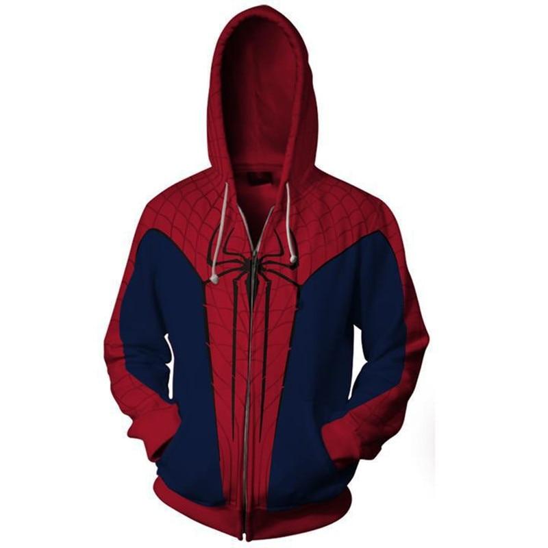 2018 3D Print spider man Hoodie Sweatshirts Zip Up Super Hero Hoody hooded Jacket clothing