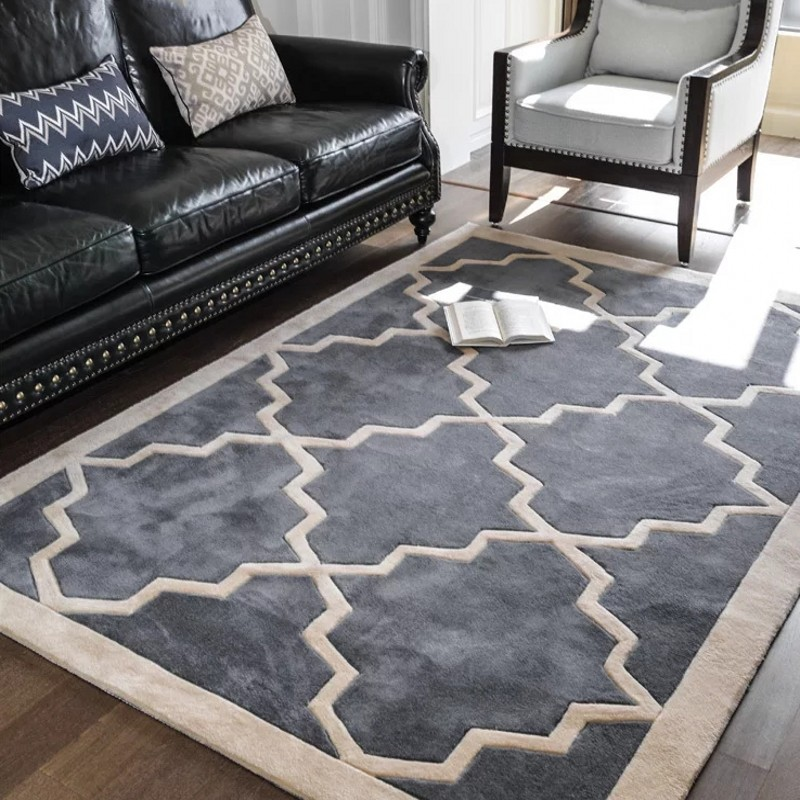 Hand Cutting Big Size Retro Geometric Living Room Rug,big Size Coffee Table Carpet , Classical Home Decoration Floor Mat