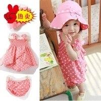 여자 도트 드레스 세트 아기 3 개 세트 어린이 착용 의류 착용: 드레스 + 모자 + 팬츠. MOQ 1