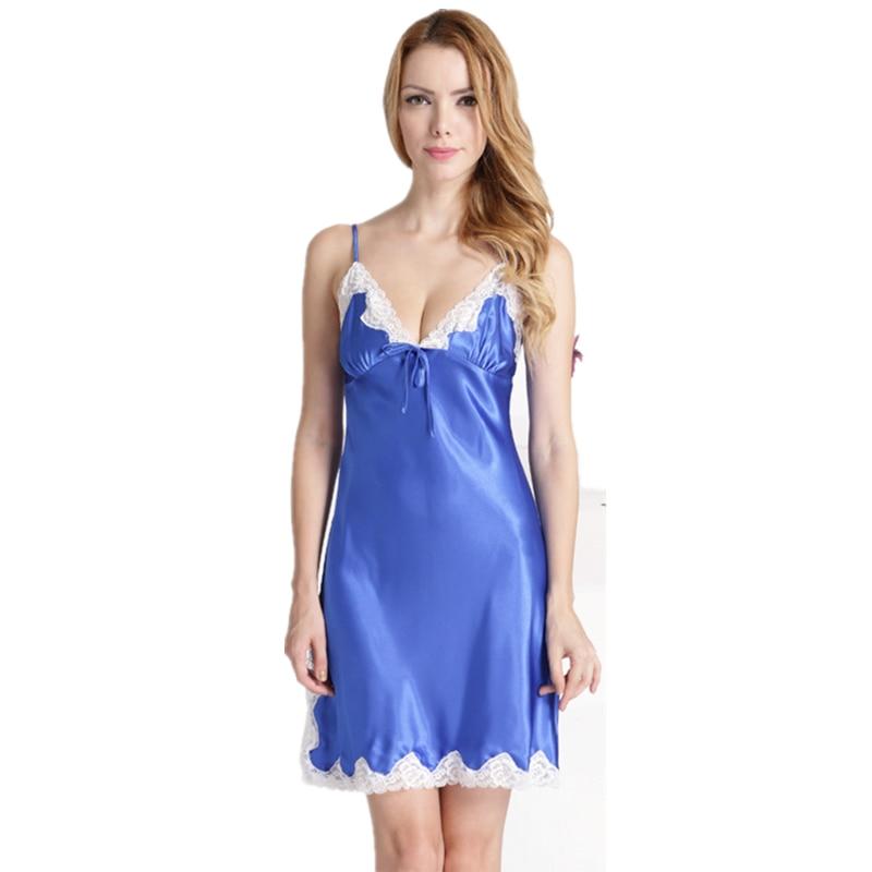 V-neck Lace Edging Silk Nightgowns Sexy Nightwear Sexy Night Dress Women Nightie Satin Sleepwear Summer 2018 Plus Size M-XXXL