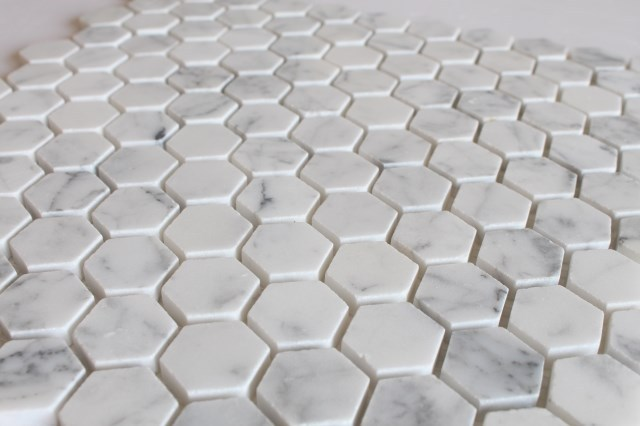 Polished Hexagon Carrara White Marble Mosaic Tile For