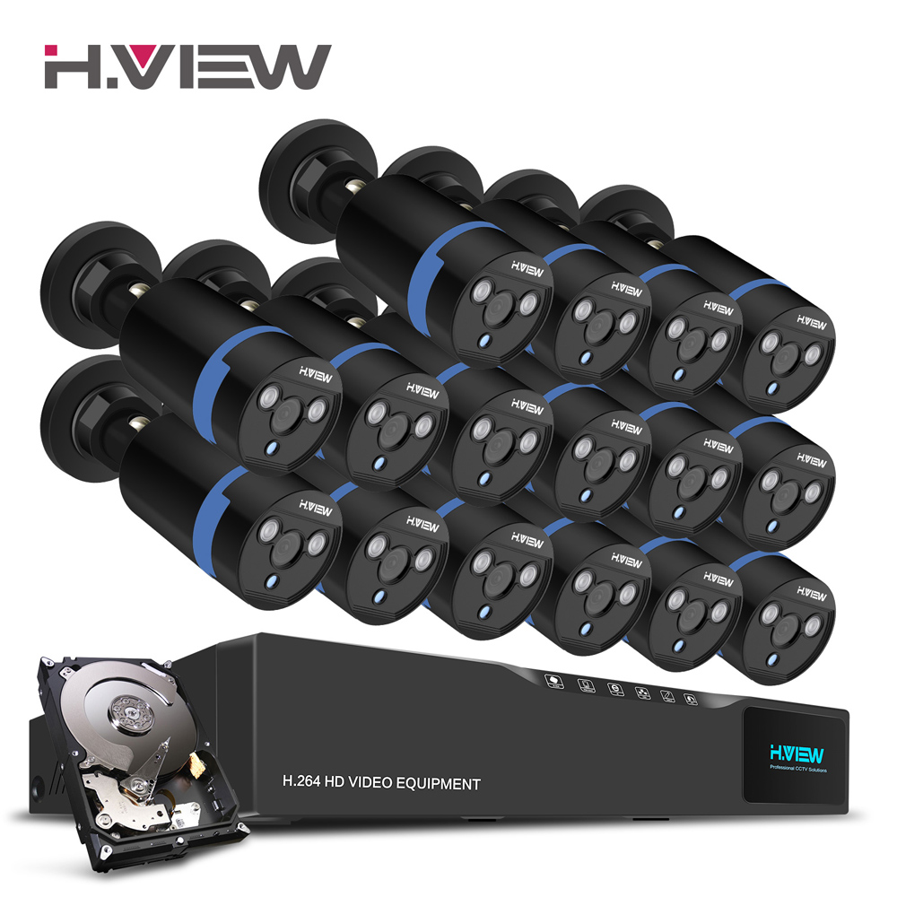 H.View 16CH Surveillance System 16 1080P Outdoor Security Camera 16CH CCTV DVR 1TB HDD Kit Video Surveillance Easy Remote View 16ch video camera recorder dvr with 16pcs outdoor waterproof ir day night vision surveillance camera 16ch security sytem dvr kit