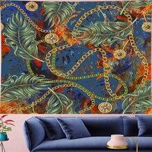 купить Psychedelic Tropic leaf Mandala Pattern Tapestry Vintage Metic chain Retro Wall Hanging Bohemian Home Decor Art  Wall Carpets по цене 729.47 рублей