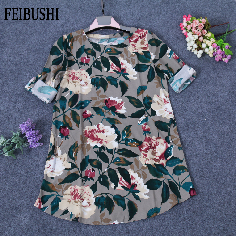 FEIBUSHI Ladies Elegant Floral Print Flower Shirts Dual-Use Sleeve Head Cotton Linen Shirt Blouse Dress Vestidos Muje Plus Size