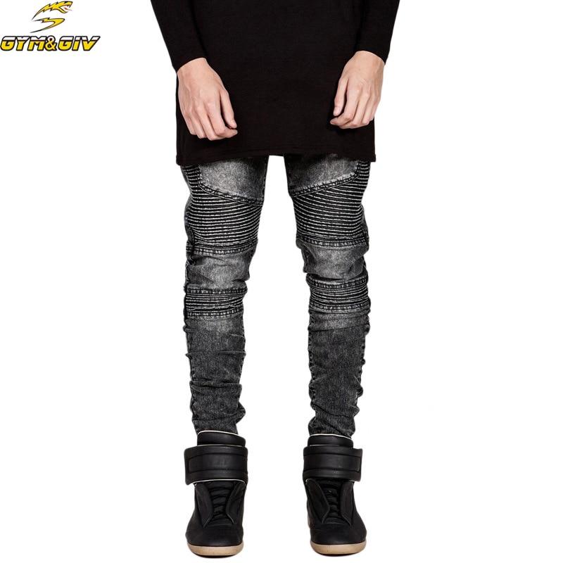 dda842bb2b Férfi Jeans Runway Slim Racer Biker farmerek Divat Hiphop Skinny ...