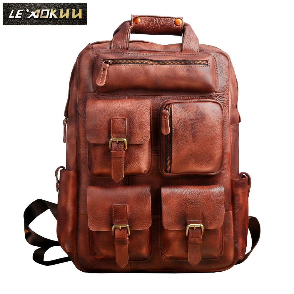 Men Original Leather Fashion Travel University College School Book Bag Designer Male Backpack Daypack Student Laptop Bag 1170bu original leather design university student school book bag male fashion knapsack daypack backpack travel 13 laptop bag men 9999