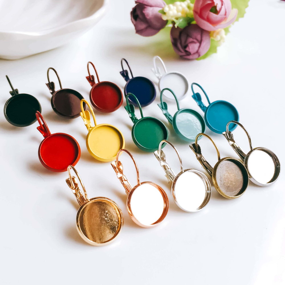 12mm 10pcs Earring Hooks Round Silver Color Plated Cabochon Cameo Tray Settings Earring Blank Base Supplies for Jewelry