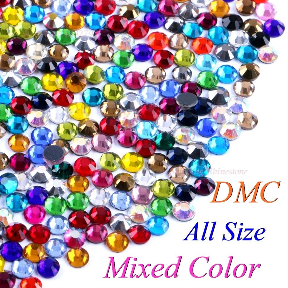 DMC смешанный цвет SS6 SS10 SS16 SS20 SS30 смешанный размер стеклянные кристаллы горячей фиксации страз железные Стразы DIY одежды с клеем-in Стразы from Дом и сад on Aliexpress.com   Alibaba Group