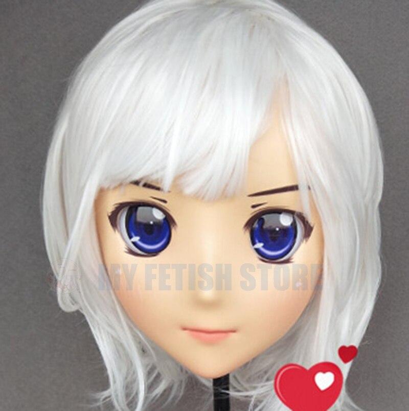 (Jiang25)Female Sweet Girl Resin Half Head Kigurumi Crossdress Cosplay Japanese Anime Role Lolita Doll Mask With Eyes And Wig
