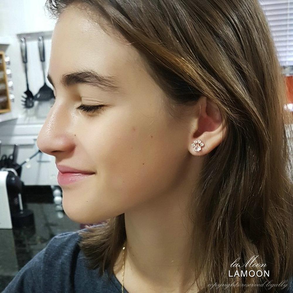 HTB1ts4NXsnrK1RjSspkq6yuvXXam LAMOON Bear's Paw 925 Sterling Silver Earrings For Women Natural Rose Quartz Stud Earrings Gemstone Earings Fine Jewelry EI040-2
