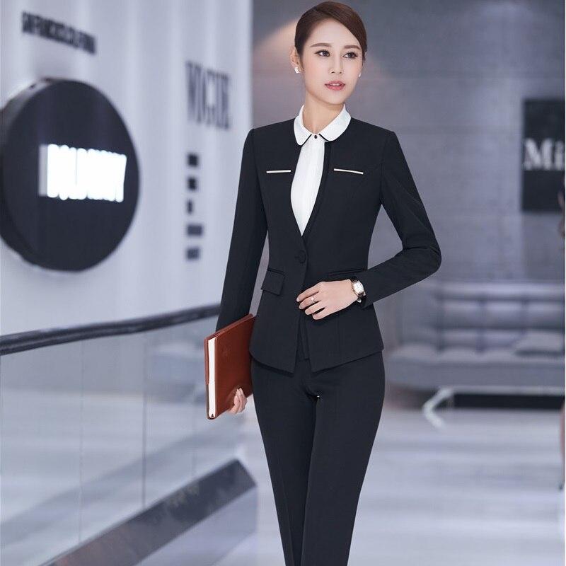 New Formal Uniform Design Professional Business Suits Jackets And Pants Spring Autumn Pantsuits Office Ladies Trousers Set
