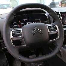 Fit For  Citroen C5 Aircross Interior Steering wheel moulding sequins ABS Chrome decoration cover 2pcs