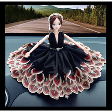 New font b Car b font Ornaments Lovely Barbie Dolls Black Peacock Skirt Lace Yarn Skirt