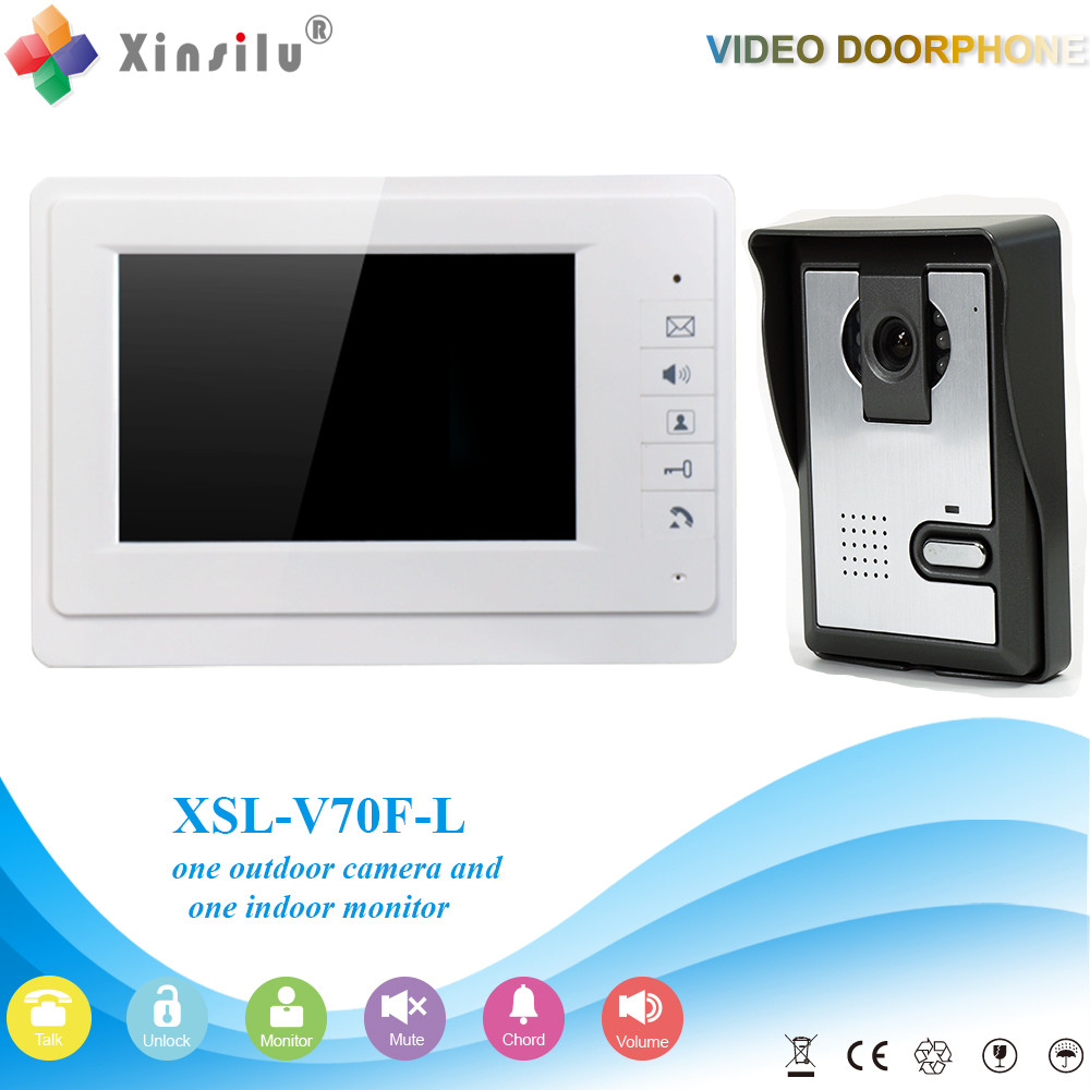 7 LCD Color monitor Video Door Phone Doorbell Intercom System 1 RFID Access Camera + 1 White Monitor In Stock rfid keyboard ip65 waterproof video doorphone intercom system for 3 apartments with 7 color lcd video intercom system in stock