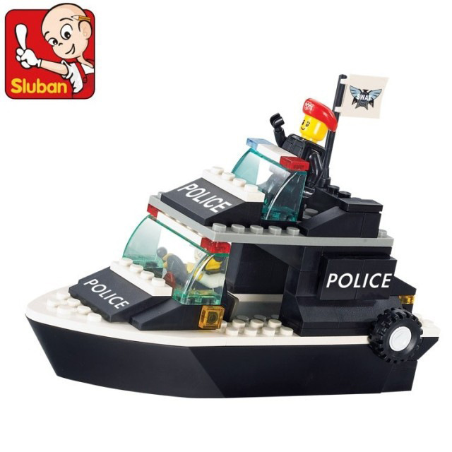 Sluban Model building kits compatible with lego city Police Patrol Craft 980 3D blocks Educational toys hobbies for children